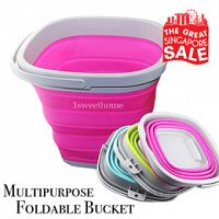 PRE-ORDERSquare Multipurpose Foldable Silicone Bucket 5/10L size/ Car wash Bucket/ Fishing Bucket/ Toys storage/ Beer Bucket Deals for only S$7.99 instead of S$20