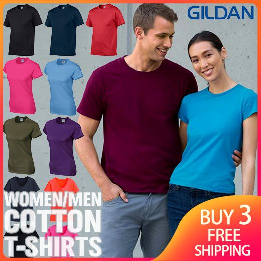 Buy 3 Free Shipping Womens Men Cotton T-shirts Ladies Fashion Plus Size Loose Top Tee Deals for only S$5.9 instead of S$29.9