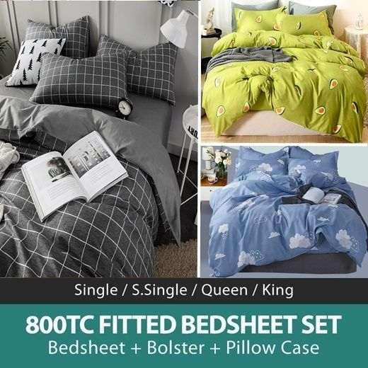 *RESTOCKED*Fitted Bedsheet Set|Microfine wrinkle-free Aloe Cotton|800TC|4 Size+Bolster Case Bed Shee