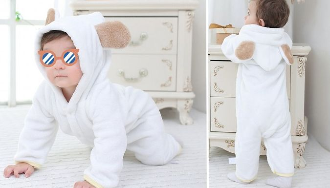 For £7.99 Instead Of £24.99; Keep Your Little One Cosy With This Hooded Flannel Baby Bear Romper