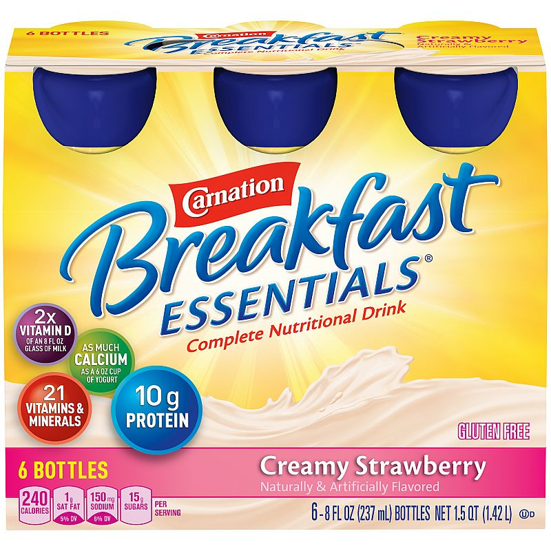 Carnation Breakfast Essentials, Creamy Strawberry, 8 fl. oz. Bottles, 6 Count Deals for only $6.5 instead of $6.5