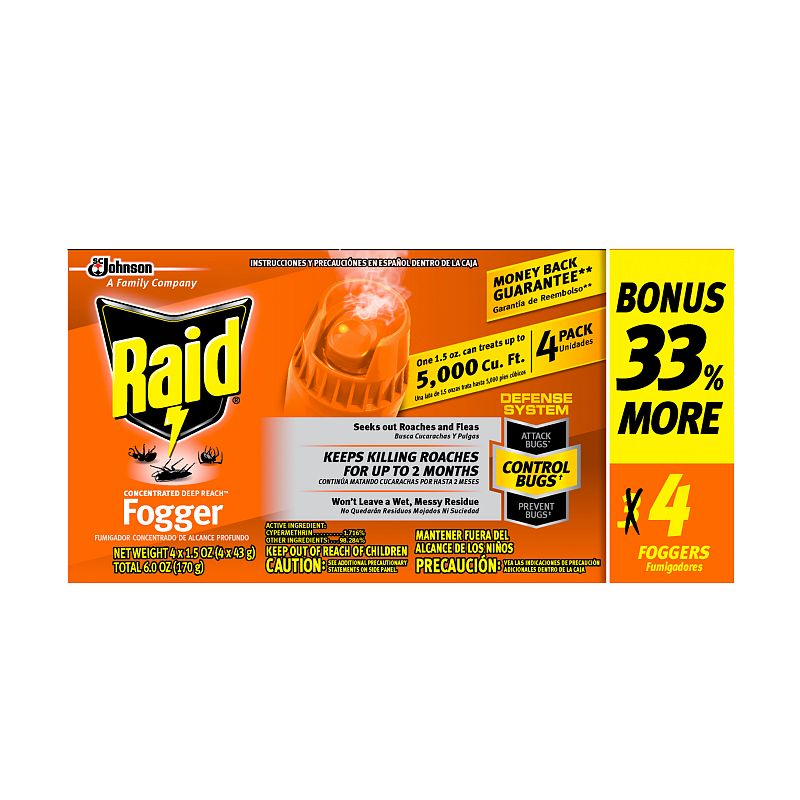 Raid Concentrated Deep Reach Fogger, 1.5 oz, 4 cans