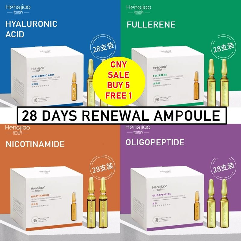 5 JENIS 28 HARI PEMBARUAN AMPOULE HYALURONIC ACID FULLERENE NICOTINAMIDE OLIGOPEPTIDE Deals for only Rp158.300 instead of Rp280.440