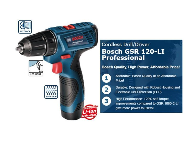 BOSCH GSR 120-LI Professional Cordless Drill / Driver with FREE Gifts Deals for only $115.98 instead of $137.65