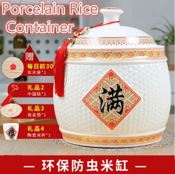 Jingdezhen ceramic m barrel m-cylinder rice box 5-20kg airtight storage container with lid househol Deals for only $37.2 instead of $59.57